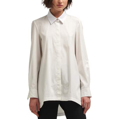 DKNY Womens Casual Top Poplin Button Front