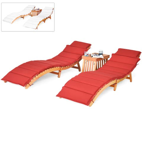 Costway 3PCS Wooden Folding Lounge Chair Set Cushion Pad Pool Deck