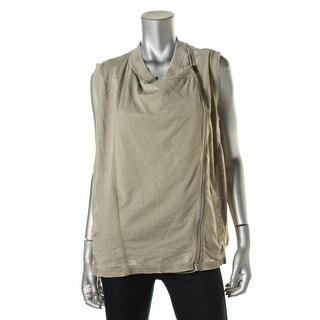 DKNY Womens Burnout Asymmetric Casual Vest - XL