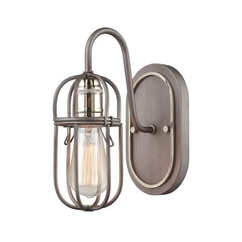 Industrial Cage 1-Light Vanity Light in Weathered Zinc