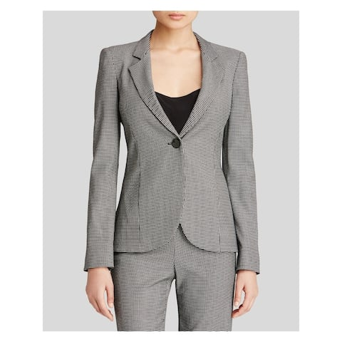 ARMANI Womens Black Houndstooth Blazer Wear to Work Jacket Size 10