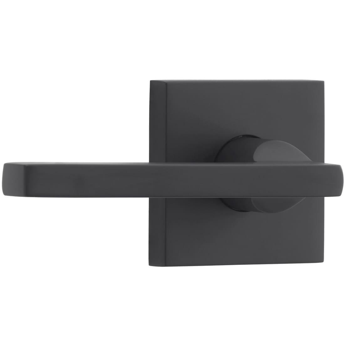 Baldwin PS SQU CSR Square Passage Door Lever Set with Contemporary Square  Rose - Satin Black