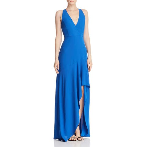 BCBG Max Azria Womens Evening Dress Sleeveless Plunging - True Blue