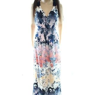 Adelyn Rae NEW Blue Women's Size Medium M Floral Print Maxi Dress