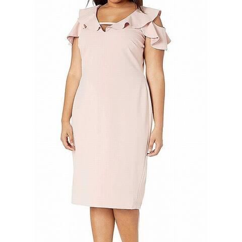 Rachel Rachel Roy Womens Sheath Dress Pink Size 20W Plus Cold Shoulder