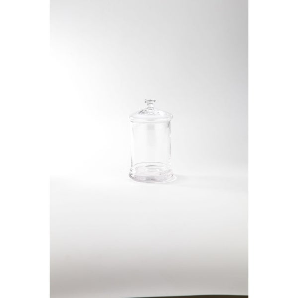 """9.5"""" Crystal Clear Hand Blown Cylindrical Jar with Lid - N/A"""