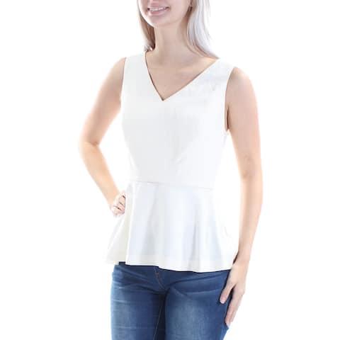 KENSIE Womens Ivory Textured Sleeveless V Neck Peplum Top Size: XL