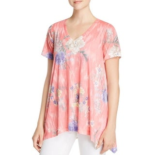 Nally & Millie Womens Casual Top Floral Print V-Neck