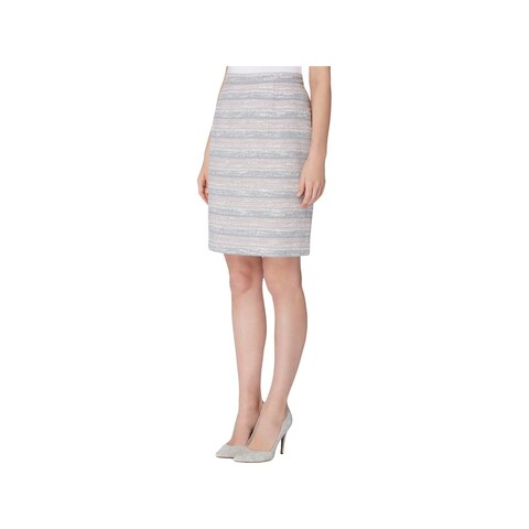 Tahari ASL Womens Petites Pencil Skirt Tweed Striped - 14P