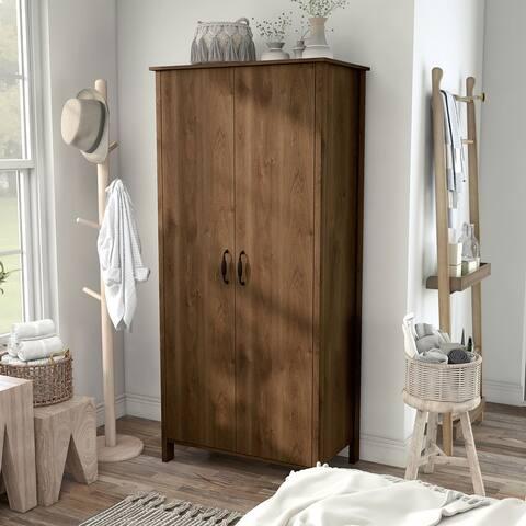 Shaunna Distressed Walnut Double-doors Wardrobe Closet with Shelves