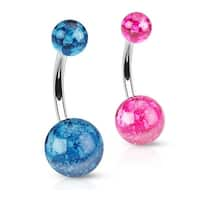 Splatter Print Acrylic Ball on 316L Surgical Steel Navel Belly Button Ring