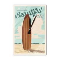Coronado, CA - Surf Board Letterpress - LP Artwork (Acrylic Wall Clock) - acrylic wall clock