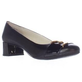 Anne Klein Hastobe Buckle Strap Kitten Heels - Black/Black