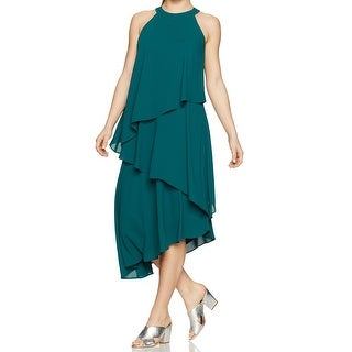 Maggy London Green Womens Size 4P Petite Tiered Flyaway Shift Dress