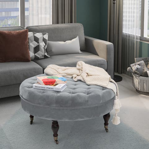 Maypex 32-inch Tufted Velvet Round Cocktail Ottoman with Wheels