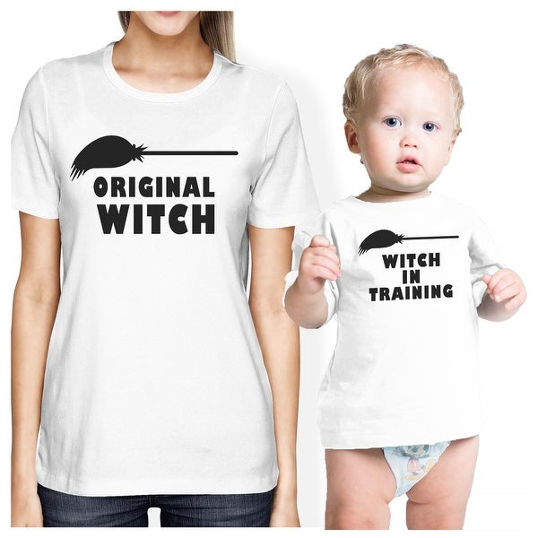 Witch In Training Mom Baby Girl Matching Halloween Shirts White