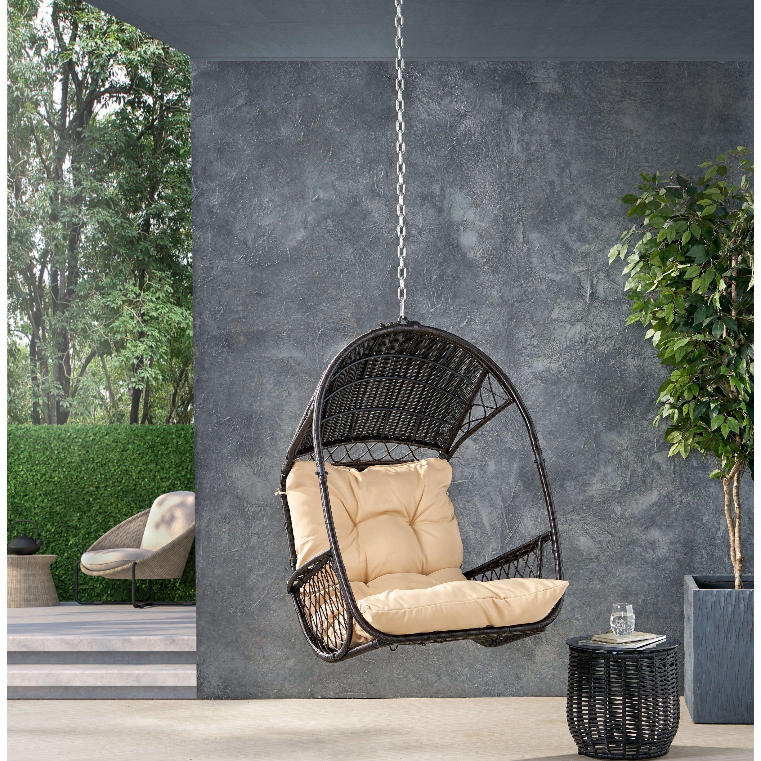 Greystone Outdoor Indoor Wicker Hanging Chair With 8 Foot Chain No Stand By Christopher Knight Home Overstock 31825459