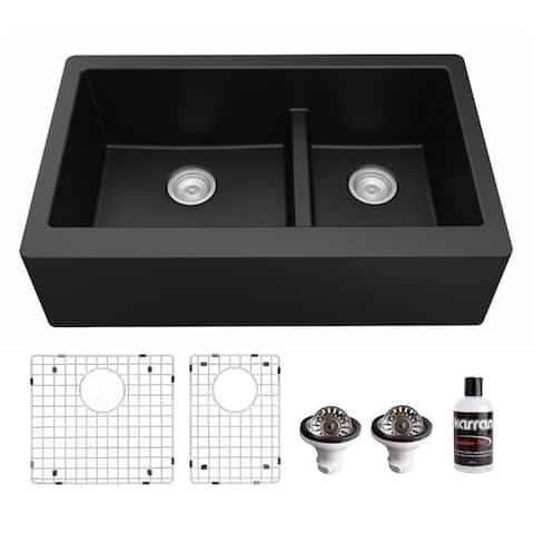 Karran Farmhouse/Apron-Front Quartz Double Bowl Kitchen Sink Kit