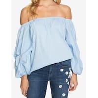 CeCe Blue Women's Size Large L Off Shoulder Pinstriped Blouse