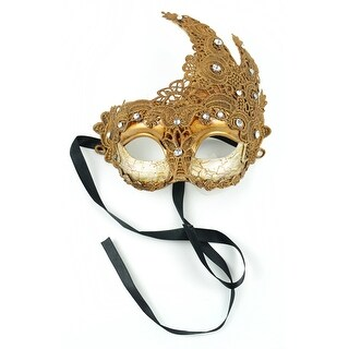 """8"""" Gold Colored Decorative Half Mask with Stones"""