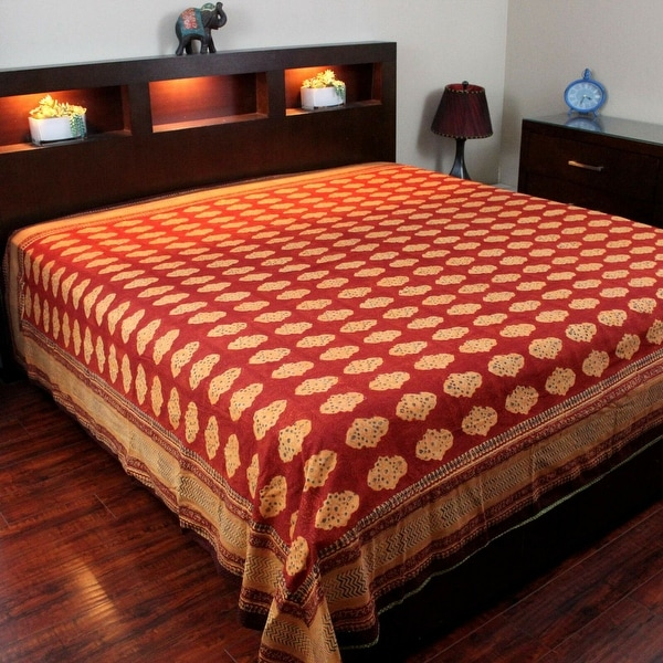 shop kensington block print bedspread cotton bedding coverlet queen size bed sheets twin full. Black Bedroom Furniture Sets. Home Design Ideas