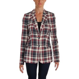 Tommy Hilfiger Womens Two-Button Blazer Plaid Office