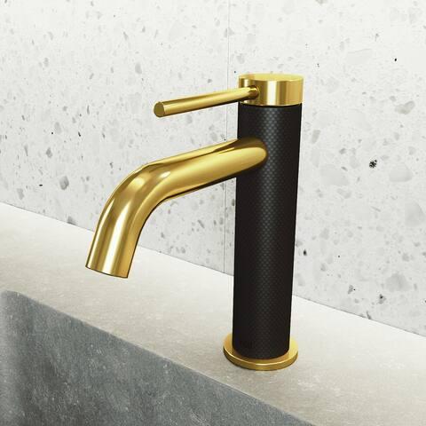 VIGO Madison Single Hole cFiber Bathroom Faucet in Matte Brushed Gold and Matte Black
