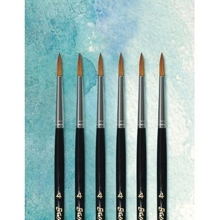 Sax Royale Synthetic and Goat Hair Short Handle Paint Brushes, Size 4, Pack of 6