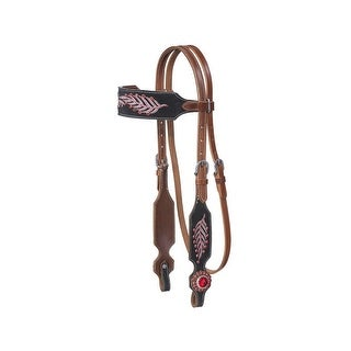 Tough-1 Headstall Lucy Leaf Embroidery Black Suede Medium Oil