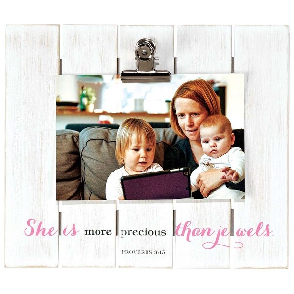 """9"""" White and Pink """"She is more precious than jewels"""" Bible Quote Rectangular Wall Plaque - N/A"""