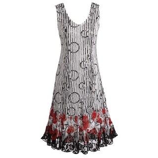 Women's Sleeveless Poppy Floral Dress - Sleeveless V-Neck Lace Hem