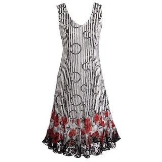 Women's Sleeveless Poppy Floral Dress - Sleeveless V-Neck Lace Hem