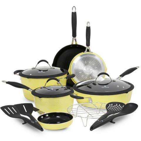 Paula Deen Family 14-Piece Hammered Aluminum Forged Cookware Set - Features Non-Stick Coating and Stay-Cool Handles