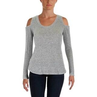 Aqua Womens Pullover Sweater Metallic Cold Shoulder