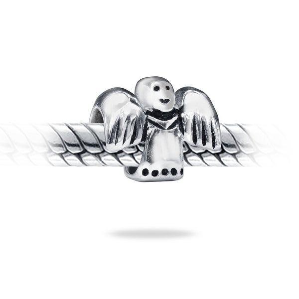 Guardian Angel Christmas Holiday Dangle Charm for Silver European Bead Bracelets