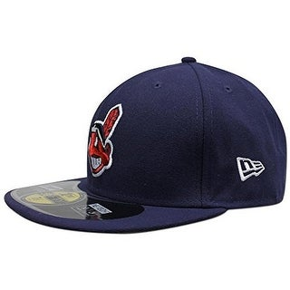 New Era Mens Cleveland Indians 59Fifty Authentic Collection Fitted Hat, Navy, 7 1/8 - navy