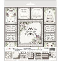 "Wedding Paper Pad 12""X12""-6 Designs/2 Each, 1 Die Cut Sheet"