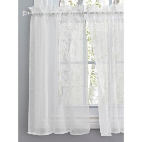 Sea Glass Semi-sheer Rod Pocket Kitchen Curtains - Tier, Swag or Valance (Sold Separately)