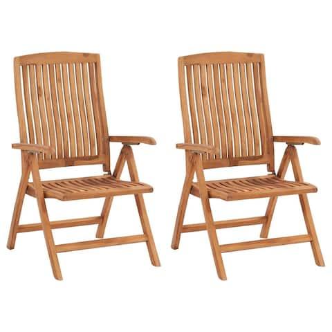 vidaXL Reclining Garden Chairs 2 pcs Solid Teak Wood