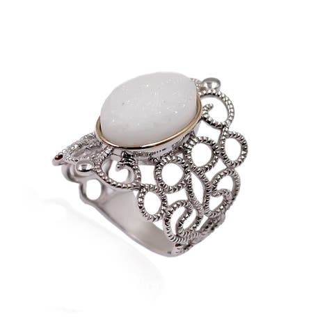 14k Gold and Sterling Silver White Drusy Ring