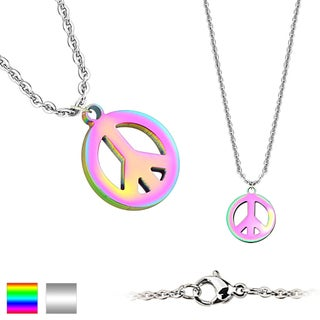 Peace Symbol Pendant 316L Stainless Steel Chain Necklace (1.5 mm) - 20 in (Option: Multi - Tri-Color)