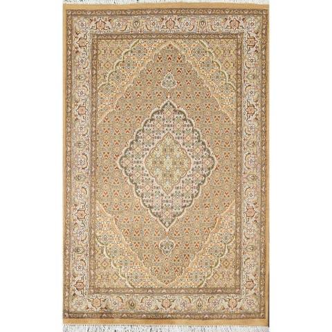"Wool/ Silk Vegetable Dye Tabriz Mahi Oriental Area Rug Handmade Carpet - 4'0"" x 6'3"""