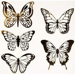Gold Butterflies - American Crafts Dimensional Self-Adhesive Wall Art 5/Pkg