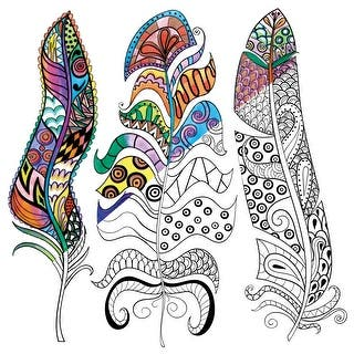 "Adult Coloring Canvas 12""X12"" W/12 Markers-Feathers