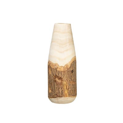 Carved Paulownia Wood Vase with Live Edge (Each one will vary)