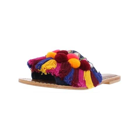 Kenneth Cole New York Womens Osmond Slide Sandals Leather Pom Poms