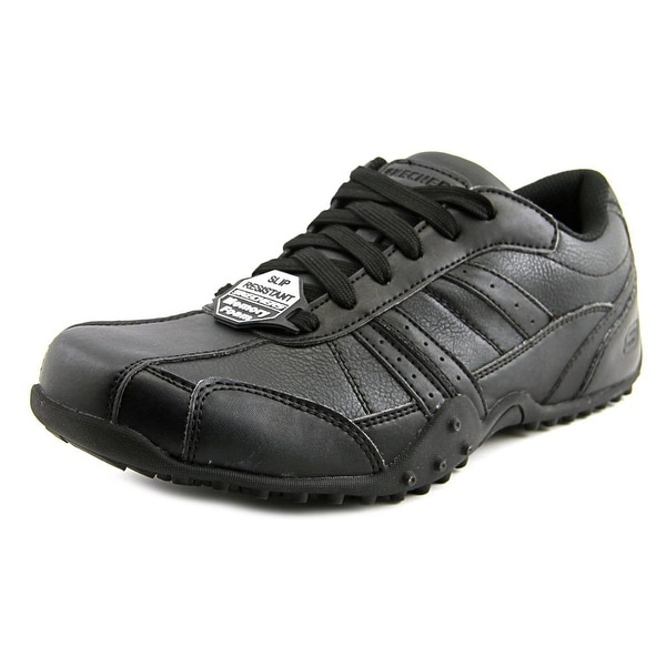 Skechers Work Elston Men Round Toe Leather Black Tennis Shoe