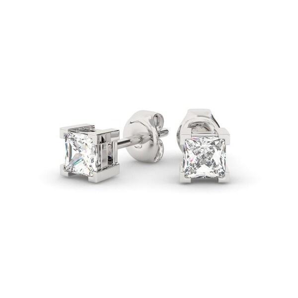 29e93397e 1.00 CT 14KT Gold Princess Cut Four-Prong Basket Diamond Stud Earrings