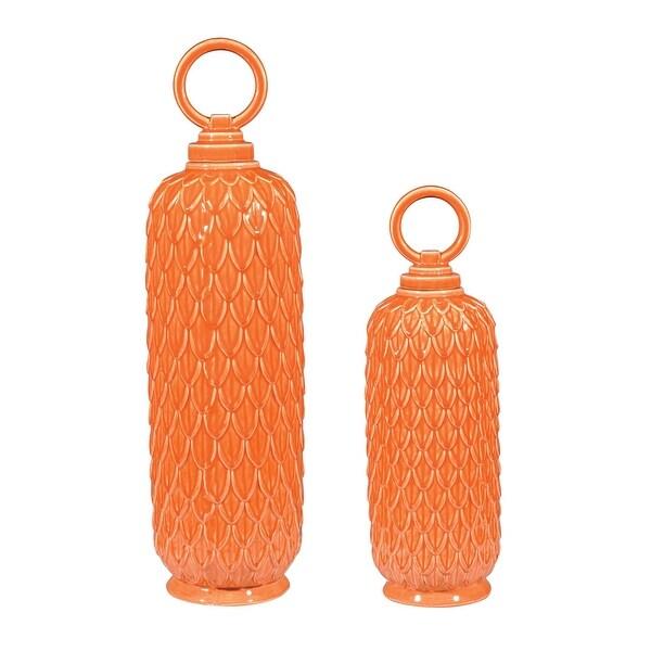 Elk Home 152-003/S2 Lidded Ceramic Jars In Tangerine Orange - Set of Two - Tangerine Orange