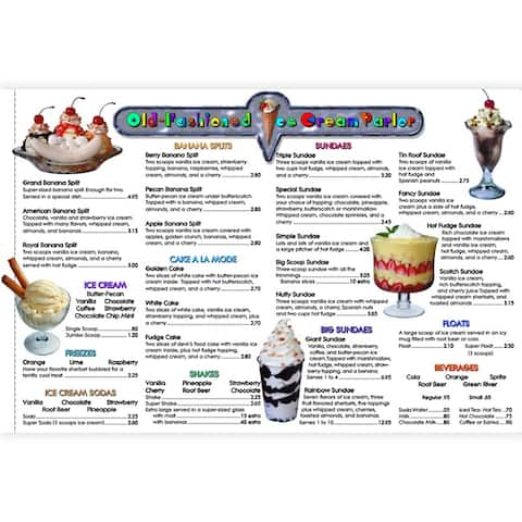 Menu Math Ice Cream Parlor 6Pk Extra Menus